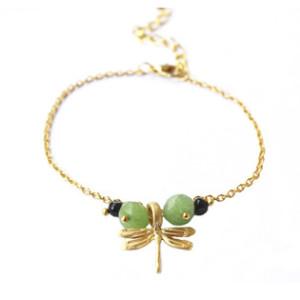 Bracelet petite Libellule - vert et noir