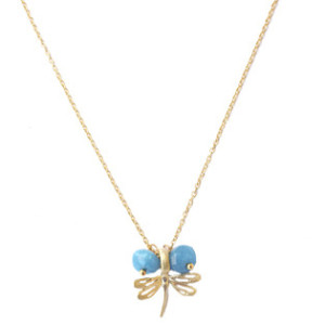Collier libellule bleu