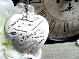 collier coeur je t aime argenté
