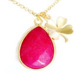 Collier Trefle et pierre semi-précieuse Jade rose