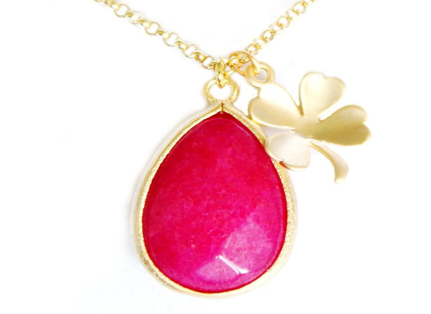 9fae47bfdca Bijoux-fantaisie-collier-trefle-rose-2014.  bijoux createur en ligne lesjumelles