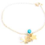 Bracelet fantaisie-trefle-bleu