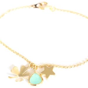 Bracelet porte bonheur Trèfle et étoile- Aigue marine