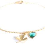 Bracelet fantaisie Trèfle et Émeraude