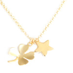 Collier Trefle et étoile plaqué or