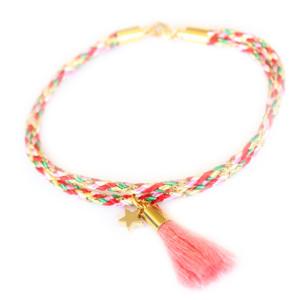 Bracelet fantaisie- Brésilien- Pompon rose