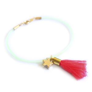 Bracelet fantaisie pompon rose