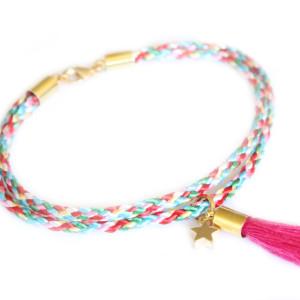 bracelet bresilien etoile rose