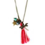 collier fantaisie pompon libellule
