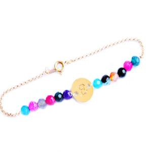 bracelet personnalise plaque or