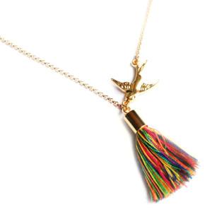 collier oiseau pompon (1)