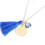 Collier medaille pompon et pierre - bleu