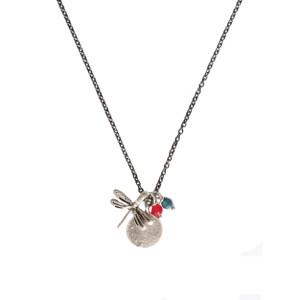 collier libellule argentée vieillie