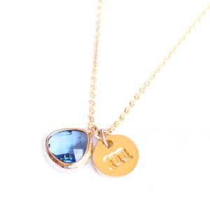 collier personnalisé lettre bleu