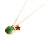 collier fantaisie pierre verte